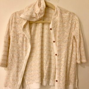 Beige & white striped cardigan